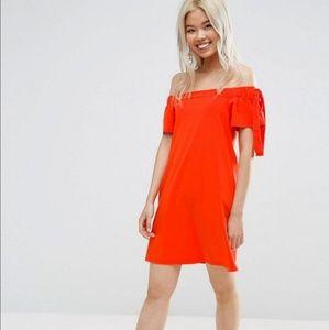 ASOS Orange Off The Shoulder Tie-Sleeve Dress